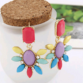 European and American fashion retro gorgeous colored gemstones rose flowers idyllic ear nail earrings