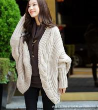 外貿秋冬裝新款不規則粗針織毛衣蝙蝠袖開衫寬松披肩女裝加厚外套