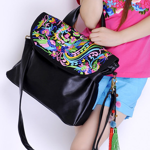 Wholesale photo tourism Folk Style Embroidered bag handbag handmade flocculus PU Leather Shoulder Messenger Bag 1302