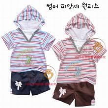 15元清仓 广州夏季童装 韩款时尚儿童短袖休闲条纹连帽童套装