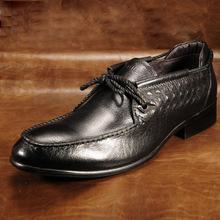 品牌真皮男鞋 商务皮鞋鞋底拉线 男士皮鞋英伦休闲鞋 片底男鞋