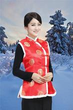 新款酒店茶樓唐裝秋冬工作服上衣棉馬甲女士中式加棉背心大紅色馬