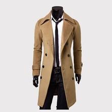外贸男士风衣 双排扣加长风衣 简约豪华大翻领外套 男士毛呢风衣