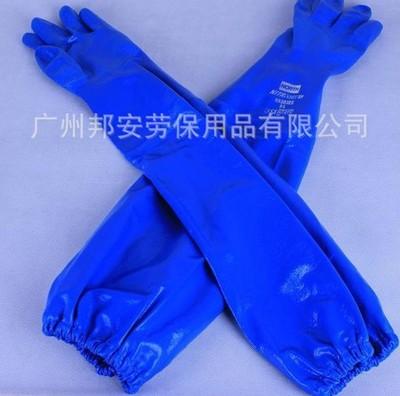 防化手套 丁晴涂层手套 加长手套 耐高温烤箱手套 蓝色防化手套