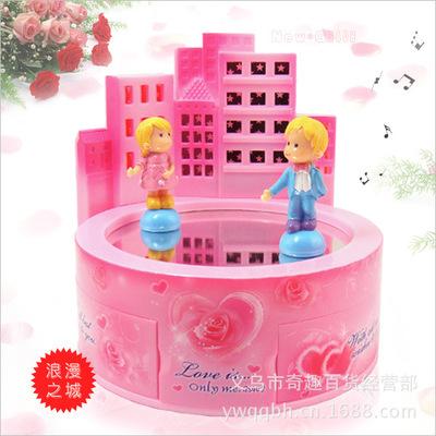 浪漫梦幻之城发光化妆镜音乐盒镜面舞池双人旋转小情侣八音盒批发