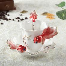 金福兰2017新款时尚创意个性金鱼咖啡杯餐具套装时尚礼品陶瓷茶具