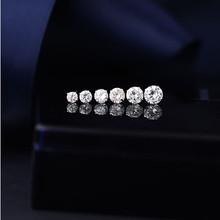圆形箭锆石明星款圆底不锈钢耳钉