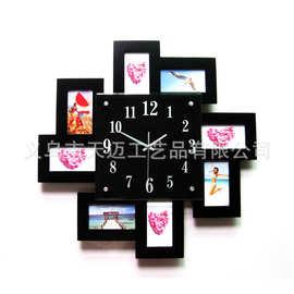 久久达个性diy相框时钟创意钟表18英寸客厅静音挂钟MDF石英钟