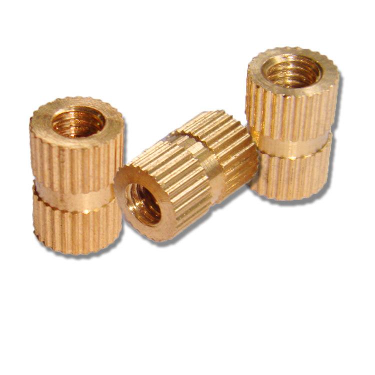 M8系列A型銅花母 銅注塑圓螺母 銅嵌入式元螺帽 滾花銅卡件  螺母