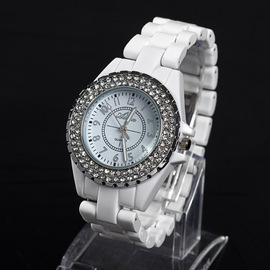 Clearance sale of women's ceramic watches genuine white band inlaid diamond British watches fashion watch