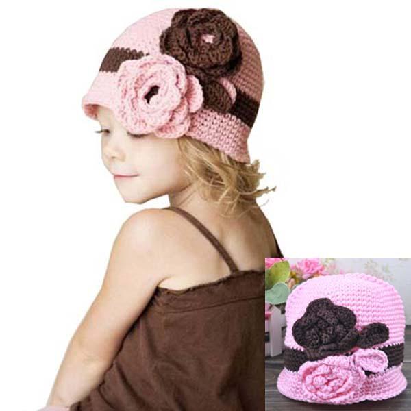 A1019三朵花儿童毛线帽 宝宝手工帽编织针织帽子 童帽批发