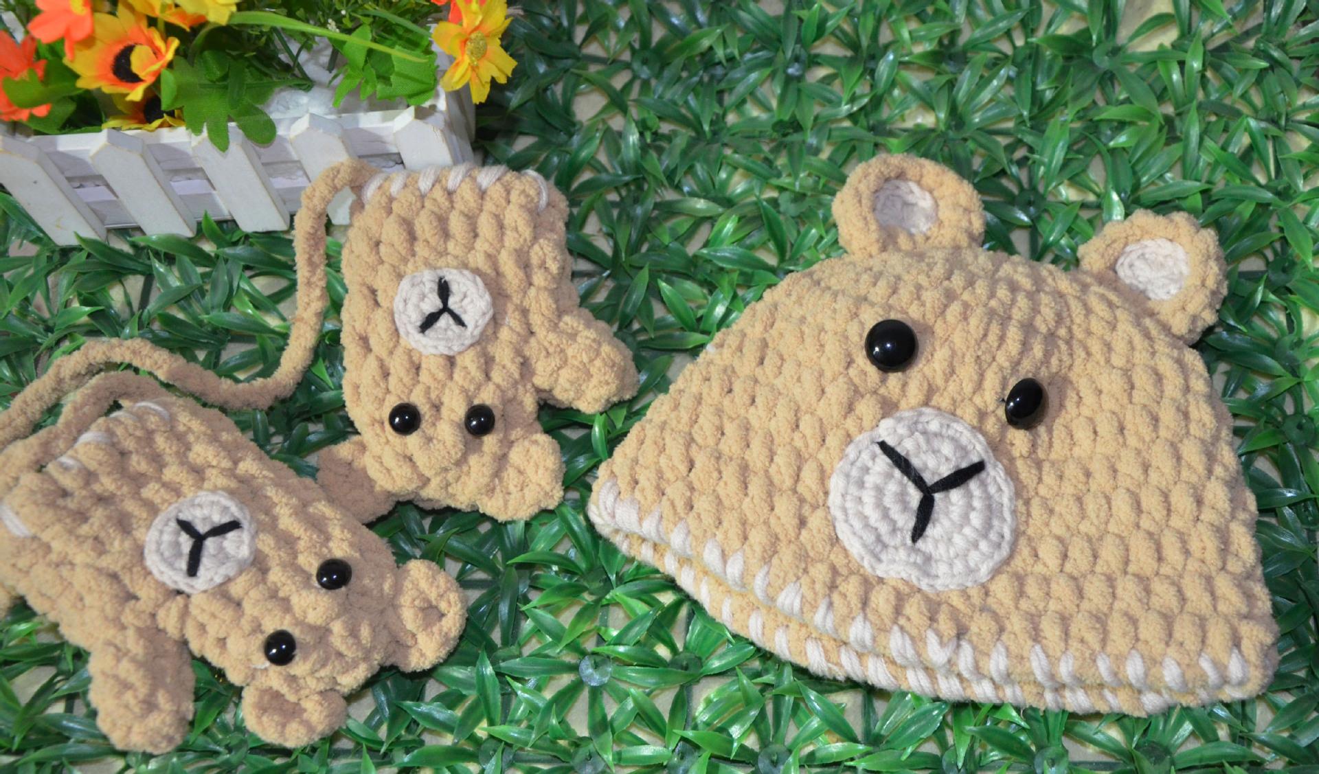 韩版潮宝宝冬季手工针织羊绒加厚保暖帽 卡通小熊帽子手套两件套