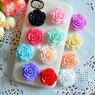 23mm resin rose flower DIY jewelry accessories mobile phone beauty sticker diamond material diy resin flower