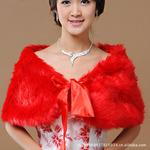 特价大红色新娘婚纱礼服披肩飘带长毛坎肩红色披肩PJ025
