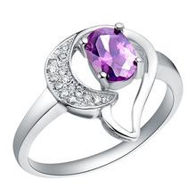 镀18K白金 微镶戒指 欧美版戒指 925 镶石系列首饰 紫晶石饰品