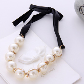 Jewelry personality pearl water drill cloth strip long necklace sweater chain