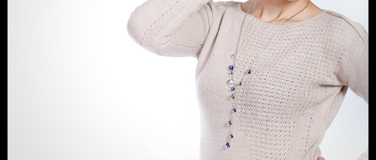 Fashion Alloy Inlaid crystal Sweater chain(White crystal)NHTM0167-White crystal