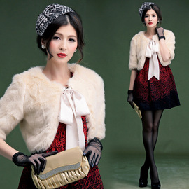 Cui Ying autumn and winter women's new noble ladies warm imitation fur short coat fur coat shawl