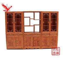 仿古实木书柜家用客厅书房书架组合落地置物架省空间多功能储物柜