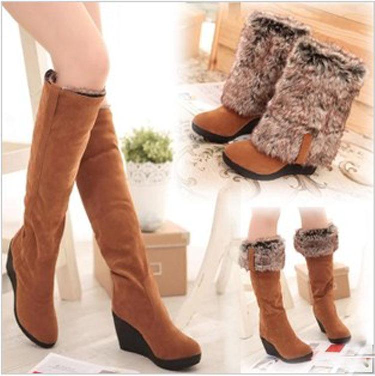 出口批发仿兔毛秋冬季新款棉靴高筒靴高跟长靴坡跟加厚雪地靴大棉