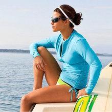 鲨巴特防晒长袖T恤沙滩防晒服分体泳衣女水母衣潜水服比基尼保守