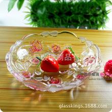 人氣新款玫瑰花糖果盤透明玻璃盤子水果盤小號瓜子碟婚慶結婚喜糖