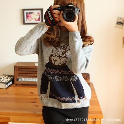 欧美街头女装可爱提花印花小兔子圆领套头外套宽松毛衣针织衫女式