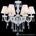 6头白玉色蜡烛灯带帽白色水晶吊灯带罩适合客厅灯卧室餐厅婚庆酒
