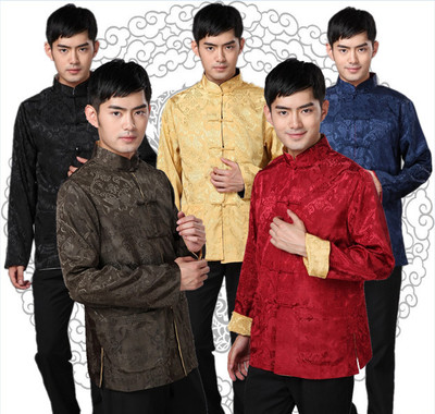Chinese tang style jacket for Men Tang double sided long sleeve coat