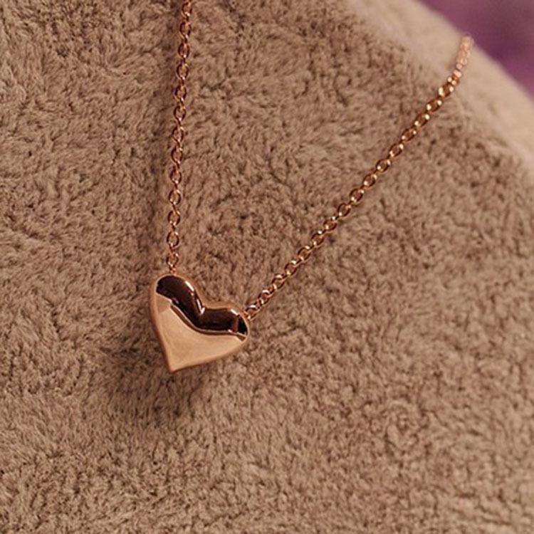 韩国饰品批发 时尚优雅甜美可爱 短款金色爱心项链颈链锁骨链女