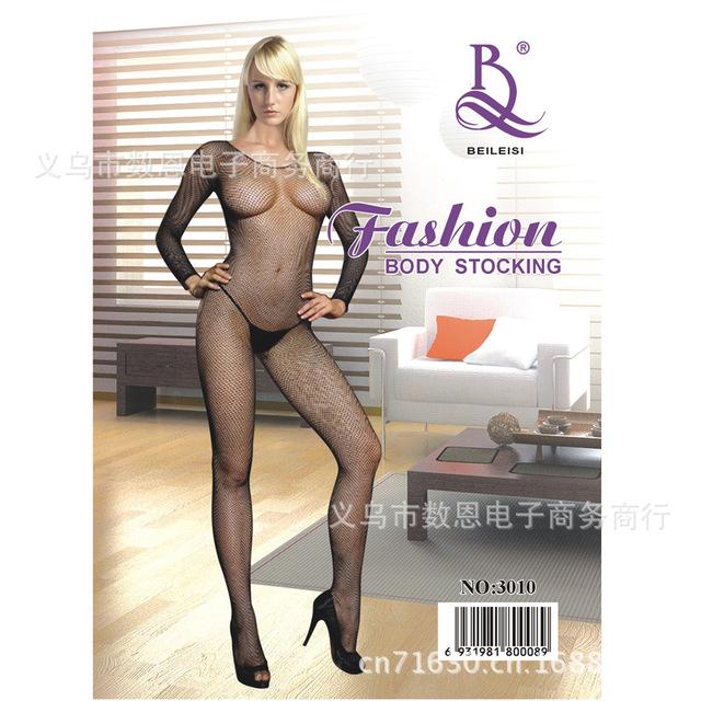 BEILEISI3010 情趣内衣 性感网袜 提花开档紧身连体网衣 批发