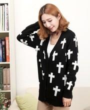 日系 寬松十字架開衫毛衣 厚版針織衫 流行幾何花紋衣服