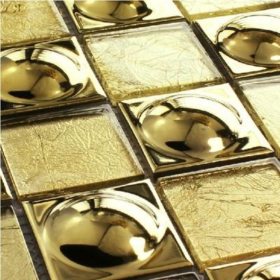 欧式金箔+金帽子马赛克 玻璃瓷砖 浴室电视背景墙 酒店酒吧 装饰