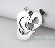 歐美 新奇特 個性創意心形鑲鉆情侶吊墜 鈦鋼 可分開dz022