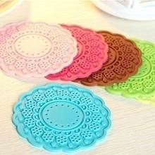 韩国创意 甜美花边硅胶杯垫 隔热防滑碗垫 半透明镂空蕾丝杯垫19g