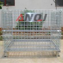 折疊式倉儲籠可移動  鐵絲金屬周轉筐鋼絲倉儲籠配件 廠家加工
