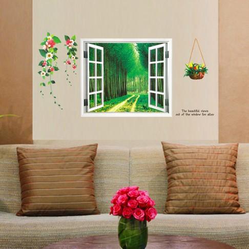 墙贴窗画树林客厅卧室婚房电视墙纸三代可移除环保壁纸贴纸AY914