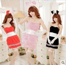 红色性感兔女郎服装游戏制服绒料情趣内衣兔子服角色扮演批发