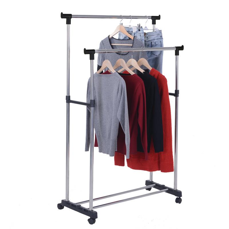 H型双杆不锈钢晾衣架落地室内上下伸缩晒衣架晾晒架衣服架服装店
