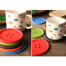 厂家直销 创意可爱圆形多彩纽扣硅胶杯垫隔热PVC垫硅胶碗垫