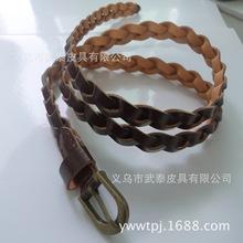 批发女士皮糠纸材质古青铜复古扣头编织腰带(厂家直销编织皮带)