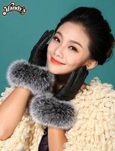 女式皮手套 奢華超大狐狸毛口韓版 女士真羊皮手套