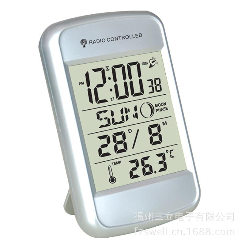 厂家直销LCD电子电波钟 带温度数显电子钟 万年历时钟厂家批发