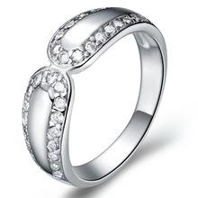 镀18K白金 微镶戒指 925 镶石系列首饰 女 戒指 双排钻 出口