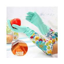 乳胶手套 韩式保暖花袖加绒手套 植绒家务手套 松紧口花袖