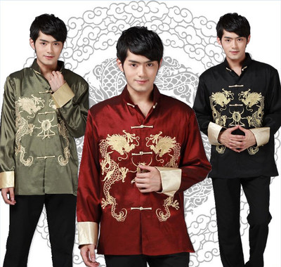 Chinese Tang style tops for Men long sleeve embroidered dragon coat