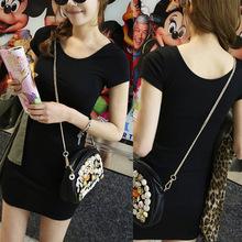 大碼批發女裝新款韓版雙U背心顯瘦短袖T恤長款修身包臀連衣裙純棉