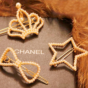 2016 model full inlaid Korean version of pearl bowknot crown peach heart five-star frog clip hairpin side clip bangs clip
