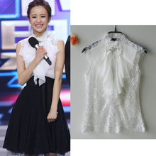 2017衬衫蕾丝雪纺衫无袖立领上衣白色修身衬衫女装