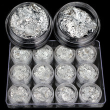 Silver Foil Fashion Luxury Phototherapy Crystal Nail Polish Nail Polish Manicure DIY Nail Jewelry 12 Round Box Set